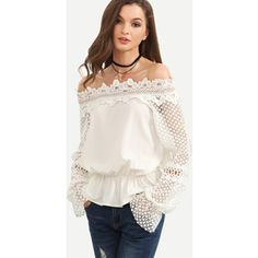 SheIn(sheinside) White Off The Shoulder Crochet Sleeve Blouse