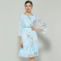 Pure Puff Sleeve Flower Pattern Print Slim Dress
