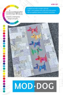 "A playful pup with a modern attitude! Slash 'n sew applique with a jelly roll or fat quarters make this quilt so fun to do! Full size applique patterns and detailed instructions included. Finished size 53"" X 64"""
