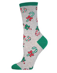 0ebc68635d9b9 Holiday Candy Canes Socks Crew Christmas Novelty Sock Shoe Size 5-11 # Socksmith #Casual