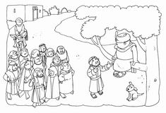 children's church or vacation bible school craft ideas   Zachaeus color pages from Touch of Fire .