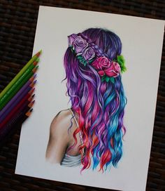 haar tekenen realistic art (art_by_melina) Instagr - Cool Art Drawings, Pencil Art Drawings, Realistic Drawings, Art Drawings Sketches, Beautiful Drawings, Hair Drawings, Zentangle Drawings, Zentangle Patterns, Ft Tumblr