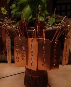 handmade copper garden tags