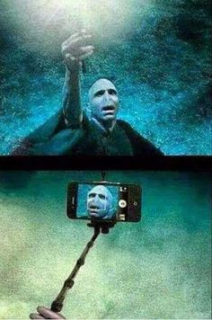 Voldemort's selfie stick. // I don't know if this makes me feel more or less of a weirdo for owning an actual selfie stick.