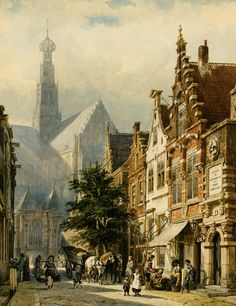 Cornelis Springer Many figures in the streets of Haarlem, 1870 painting sale sites, painting Authorized official website City Painting, Medieval Life, Dutch Painters, City Landscape, Dutch Artists, Old Paintings, Art Database, Gustav Klimt, Art World