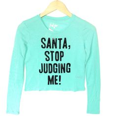 Santa Stop Judging Me Ugly Christmas Sequin Crop Top – Turquoise