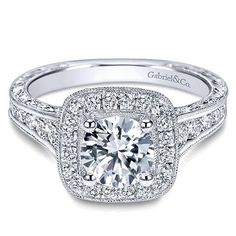 Gabriel - Elaine 14k White Gold Round Halo Engagement Ring