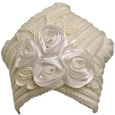 Ivory Knit Turban Beanie With Satin Rosettes (€18) ❤ liked on Polyvore featuring accessories, hats, ivory, rose hat, sequin hat, knit beanie hats, turban hat and long beanie hats