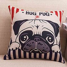 Cute Hug Pug Dog Pillowcase one side Soft Cotton Linen Throw Pillow Cushion Cover *** Continue to the product at the image link.