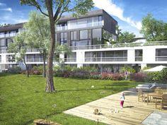 Alle 19 Wohnungen der Anlage öffnen sich zum Parkgrundstück und zur Allee - mit großzügigen #Gärten, #Terrassen und #Balkonen.