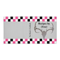 Personalized Hunters Checkerboard Recipe Cookbook 3 Ring Binders