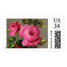 Joyous New Year Pink Rose Postage - vintage gifts retro ideas cyo