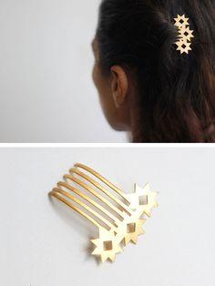 star hair comb by YUKA Brass Jewelry, Hair Jewelry, Jewelry Art, Jewelery, Jewelry Design, Miss Moss, Hair Essentials, Vintage Hair Combs, Hair Decorations