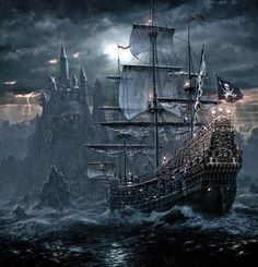 Pirate Sailing Ship near Castle gaming games images pictures screenshot GameScapes GamingShot concept digital art VistaLore daily pics beauty imagination Fantasy Pirate Art, Pirate Life, Pirate Ships, Pirate Queen, Pirate Crafts, Pirate Skull, Bateau Pirate, Old Sailing Ships, Ghost Ship