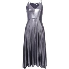 Halston Heritage metallic flared dress ($325) ❤ liked on Polyvore featuring dresses, grey, grey flare dress, grey dress, print dress, halston heritage and halston heritage dress