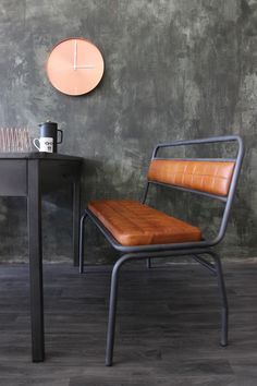 Industrial Style Leather Bench - View All - Furniture