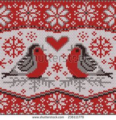 Christmas card with bullfinches, nordic knitted pattern. Northern style. Decorative seamless border with beautiful winter birds. Creative vector illustration.
