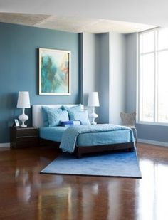 Bedroom, : Simple And Neat Light Blue Comforter Platform Bed And WHite Shade Table Lamp Also Blue Furry Rug In Parquet Flooring Home Interior Design In Brown And Blue Bedroom Ideas