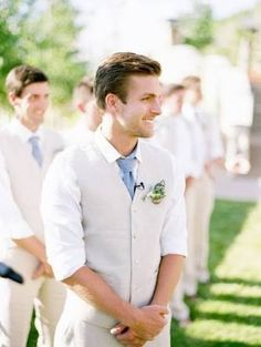 cream linen grooms suits - Google Search