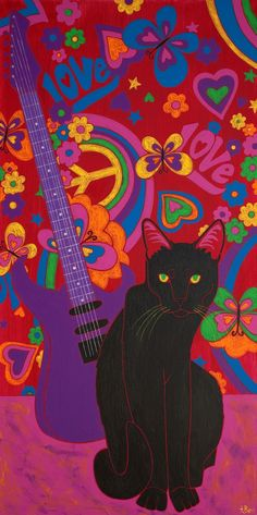 So Def in the Jam Black Cat Art Fine Art Print by by dogpopart, $35.00 ( all I see is a purple guitar)