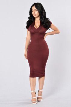 - Available in Burgundy - V Neckline - Shoulder Cutouts - Midi Length - Body Con… Tight Dresses, Sexy Dresses, Fashion Dresses, Runway Fashion, Fashion Models, Fashion Tips, Dress Skirt, Bodycon Dress, Sheer Dress