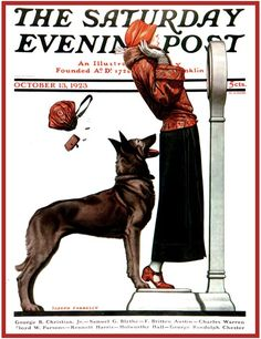 """bad dog"" Saturday Evening Post, 1923 (Not a Rott but it reminded me of mine. She sneaks a pinch in the butt from time to time)"