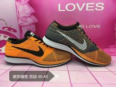 new york 661da 5a775 Nike Flyknit Racer Unisex shoes Carbon Grey Orange