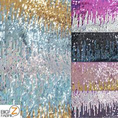 Moon Shadow Sequin Fabric Multi-Color Black Sold by BigZFabric
