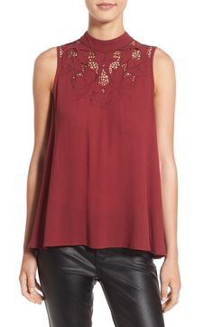 Embroidered Mock Neck Tank