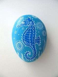Painted Stone Sea Horse Pattern, Beach Art, Original Painting Rock Art