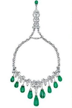 Van Cleef & Arpels 1929 Vintage art deco emerald and diamond necklace owned by Princess Faiza of Egypt