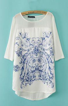 Vintage Pattern Printing High-low Hem Loose T-shirt