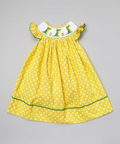 Look at this Molly Pop Inc. Yellow Polka Dot Gator Smocked Dress - Infant, Toddler & Girls on #zulily today!