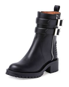 X2FB9 Givenchy Double-Buckled Zip Ankle Boot, Black