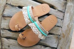 Greek Leather Sandals embellished with Cotton Lace Trim and Turquoise Pom Pom Trim