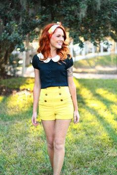 High-waisted shorts in sunshine yellow. #summerstyle