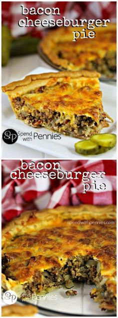 Bacon Cheeseburger P Bacon Cheeseburger Pie! This easy cheesy. Bacon Cheeseburger P Bacon Cheeseburger Pie! This easy cheesy recipe is one that your whole family will love! Ground beef & bacon topped with cheese baked up perfectly in a pie crust! Beef Bacon, Bacon Pie, Turkey Bacon, Cheesy Recipes, Chicken Recipes, Shrimp Recipes, Hamburger Meat Recipes Ground, Recipies With Ground Beef, Hamburger Soup