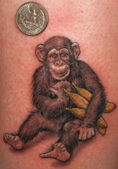 Small chimp tattoo. No bananas, lose the fear grin and could be cute