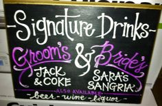 Signature Drinks wooden sign for Weddings! Personalized with names, drink options, and wedding colors!  HandPaintedByE