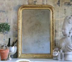 Items similar to Antique French Gold Mirror Circa 1910 on Etsy Mirror Inspiration, Old Mirrors, Gold Ornaments, Diy Mirror, Antique Glass, French Antiques, Interior Decorating, Decorating Ideas, Oversized Mirror