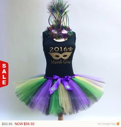 ADULT MARDI GRAS 2016 TUTU SKIRT COSTUME Set w/ peacock feather mask and tank top. My handmade Womans Mardi Gras 2016 Tutu Skirt Costume Set is