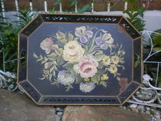 Vintage Metal Italian Toleware Tray, Hand Painted Flowers, Shabby french Tole, French Toleware, French Tray by euromercantile on Etsy https://www.etsy.com/listing/384429778/vintage-metal-italian-toleware-tray-hand