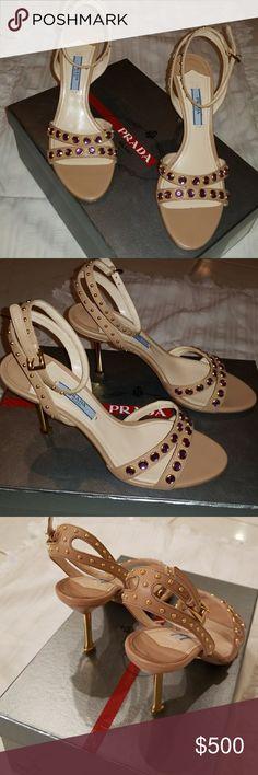 Georgous Prada nude high heeled sandals Amazing Prada nude color, studed with crystals and a gold metal heel Prada Shoes Heels