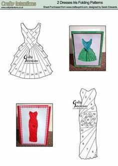 2 Dresses Iris Folding Patterns on Craftsuprint designed by Sarah Edwards - 2 Dresses Iris Folding Patterns - Now available for download!