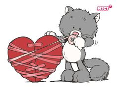 Wandtattoo Love cat Tatty Teddy, Nici Teddy, Sweet Drawings, Cute Teddy Bears, Digi Stamps, Cat Drawing, Love Images, Stickers, I Love Cats