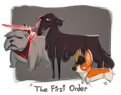 Kylo is a borzoiPhasma is an english bulldogHux is a welsh corgiThey're my precious chidren. I'll make the main characters trio later <3