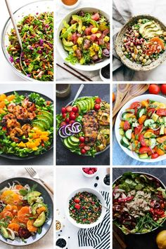 Healthy salad recipes that include kale salads, shrimp salads and more!