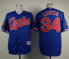 """$23.88 at """"MaryJersey""""(maryjerseyelway@gmail.com) Cubs 34 Jon Lester Blue 1994 Turn Back The Clock Stitched Baseball Jersey"""