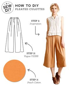 Most current Photos sewing pants diy Popular DIY Outfit – Pleated Culottes — Sew DIY Diy Outfits, Short Outfits, Party Outfits, Diy Clothing, Clothing Patterns, Sewing Patterns, Sewing Clothes Women, Diy Kleidung, Sewing Pants