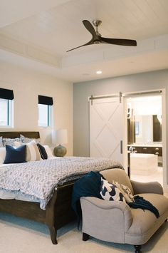 Bedroom. Bedroom Design. Transitional Bedroom. Bedroom Ceiling. Bedroom Ideas. Barn Door Bedroom. #Bedroom #bedroomIdeas Four Chairs Furniture.